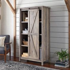 Better Homes & Gardens 66 inch Modern Farmhouse Bookcase Storage Cabinet, Rustic Gray Finish Size: x Farmhouse Storage Cabinets, Farmhouse Bookcases, Kitchen Cabinet Storage, Bookcase Storage, Pantry Cupboard, Kitchen Cabinets, Pantry Storage, Rustic Cabinets, Pantry Doors