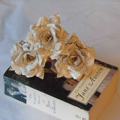 3 Pride and Prejudice Roses,  Book Page Paper Flower Roses, 3 x Handmade Paper Flowers,  Jane Austen