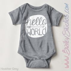 Hello World Newborn Baby Outfit, Birth Announcement, Coming Home Outfit, Personalized Baby Shower Gift, Gender Neutral Infant Clothes by BrileyStudios on Etsy