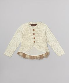 This Cream Script Ruched Button-Up Jacket - Infant, Toddler & Girls by Mustard Pie is perfect! #zulilyfinds