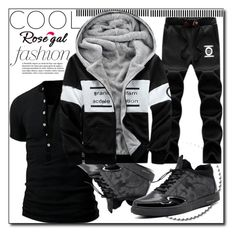 """""""Rosegal 29"""" by fashion-with-lela ❤ liked on Polyvore featuring men's fashion, menswear, black, grey and streetfashion"""