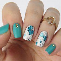 Foto 3 de 9 latest nail art designs gallery nail designs for short nails 2019 kiss nail stickers self adhesive nail stickers best nail polish strips 2019 Nail Art Designs, Flower Nail Designs, Flower Nail Art, Acrylic Nail Designs, Acrylic Nails, Pretty Nail Art, Manicure E Pedicure, Nail Decorations, Nail Stamping