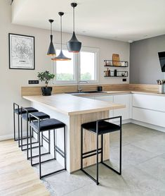 Discover recipes, home ideas, style inspiration and other ideas to try. Kitchen Room Design, Home Decor Kitchen, Interior Design Kitchen, Home Kitchens, Open Plan Kitchen, New Kitchen, Kitchen Ikea, Dream Home Design, House Design