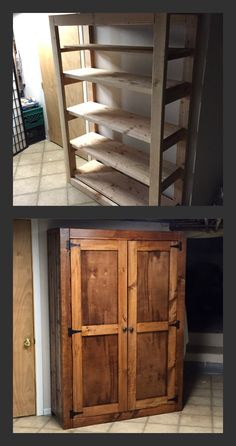 Woodworking Organization How To Build DIY Pantry Rustic Pantry Cabinets, Wooden Pantry, Diy Storage Cabinets, Pantry Diy, Pantry Cupboard, Garden Storage Cabinet, Pallet Pantry, Farmhouse Storage Cabinets, White Pantry