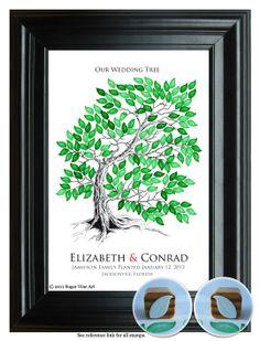 WEDDING TREE GUESTbook, original Wedding Tree, drawn guest book tree wedding, hand drawn copy of original Tree guest book, 13x19 num.107. $75.25, via Etsy.