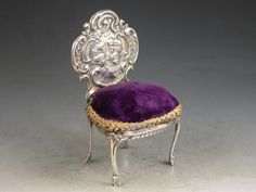Edwardian Novelty Silver Rococo Revival Style Chair Pin Cushion   Henry Matthews, Birmingham, 1902   Glossary of Silver Terms   Steppes Hill Farm Antiques   http://www.steppeshillfarmantiques.com/blog/a-glossary-of-silver-terms-g-w-2437