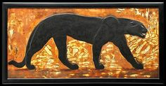 Panther (panel), Designers:Jean Dunand & Paul Jouve,  Date:ca. 1924, Culture:French, Medium:Lacquered wood, eggshell