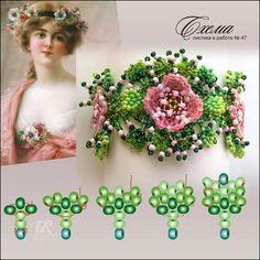Bracelet délicat de perles vertes et de roses