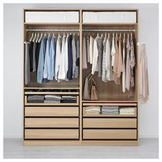 PAX Wardrobe, white stained oak effect, Ilseng white stained oak veneer - cm - soft closing damper - IKEA Bedroom Wardrobe, Wardrobe Closet, Walk In Closet, Ikea Closet, Dressing Ikea, Organizar Closet, Closet Layout, Small Closets, Custom Closets