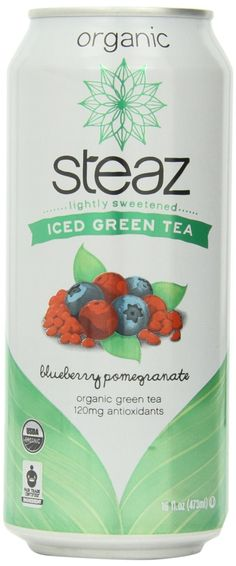 Steaz Organic Iced Teaz, Green Tea with Blueberry, Pomegranate, 16 Ounce Cans (Pack of Source by jet Oolong Tea, Iced Tea, Green Tea Latte, Coffee Store, Matcha Green Tea Powder, Organic Green Tea, Organic Recipes, Healthy Drinks, Gourmet Recipes