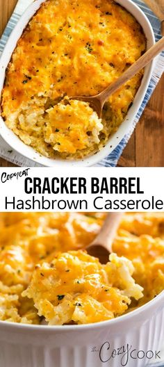 This Copycat Hashbrown Casserole tastes just like the Cracker Barrel version and is so easy to make. You can even make it ahead of time and can freeze leftovers! # breakfast casserole with hashbrowns Copycat Cracker Barrel Hashbrown Casserole Cracker Barrel Hashbrown Casserole, Hashbrown Breakfast Casserole, Brunch Casserole, Easy Hash Brown Casserole, Paula Deen Hashbrown Casserole, Make Ahead Breakfast Casserole, Casserole Recipes, Crockpot Recipes, Cooking Recipes
