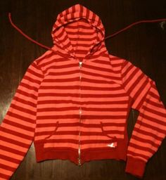 Girls Red And Pink Striped Jacket With Double Zipper And Drawstring Hoodie CUTE  Adorable Hummingbird Logo!! Combined Shipping Offered! on eBay
