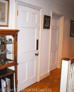 A pair of Edwardian internal doors that our carpenters fitted into existing frames. This client wanted to keep their original bronze Art Nouveau finger plates, so we transferred them along with the door knobs, onto the new doors. We painted both of these doors white with Teknos paint. We use Teknos because their paints are very durable and work great with Accoya, which is the timber we use on most of our doors such as this pair of internal Edwardian doors.
