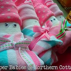 Diaper Babies - great gifts made from diapers, socks, washcloths & ribbon