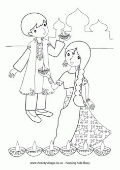 Children With Diya Colouring Page