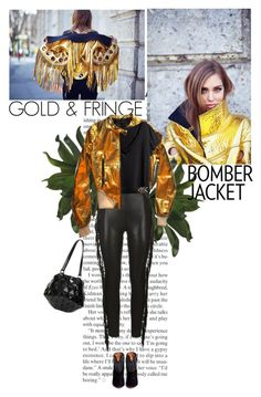 """""""golden bomber"""" by helena99 ❤ liked on Polyvore featuring Barbara Bui, H&M, Yves Saint Laurent, Aquazzura, Issey Miyake, women's clothing, women, female, woman and misses"""