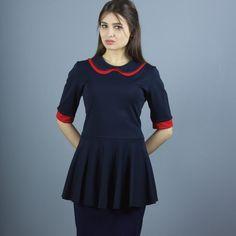 Stretchkleider - NARA Blusenkleid mit Bubikragen - ein Designerstück von Berlinerfashion bei DaWanda