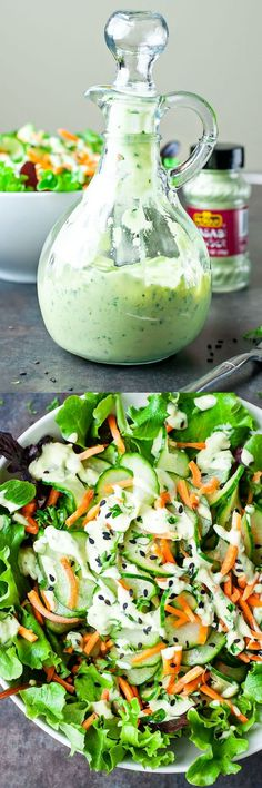 Let's shake up those salads! This zesty avocado dressing is super creamy and full of flavor! Vegan + Gluten Free