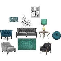 """""""Blue and silver living room"""" by tracy-mitchell-hughes on Polyvore"""