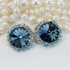 Navy Blue Clip On Swarovski Crystal Navy Clip Earrings AB Crystal Clip ons Something blue Navy Wedding 14mm AB Halo,Silver ,Denim Blue,SE110