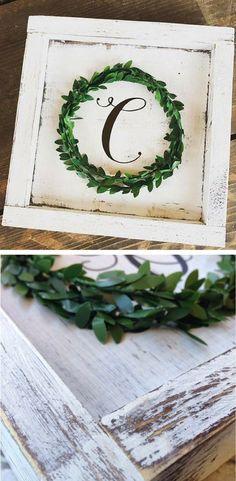 Modern farmhouse wreath, monogram wood sign, Personalized Boxwood wreath inital, wedding sign decor, home decor, rustic sign, gallery wall art, custom sign, farmhouse decor, farmhouse sign, rustic decor, gift idea #ad #weddingdecoration