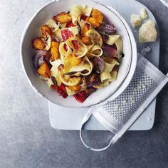 Pappardelle with roast vegetables and sage