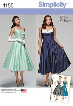 this classic 1950's vintage dress pattern for both miss and plus size is perfect for any special occasion. dress has option of contrast bodice inset. back of dress has v-neckline with bow. simplicity sewing pattern.