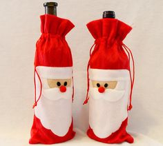1 Piece Red Wine Bottle Cover Bags Christmas Dinner Table Decoration Home Party Decors Santa Claus