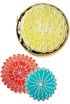 Iced sugar cookies bring an Indian feel to your favors