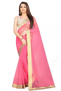 Rose Pink net saree with off white art silk blouse. Embellished with stone work. Saree with Square Neck, Sleeveless. It comes with unstitch blouse, it can be stitched to 32 to 58 sizes. #saree #indianSaree #sareeonline #festivalwear #partyWear #sareelove #cocktailsaree.