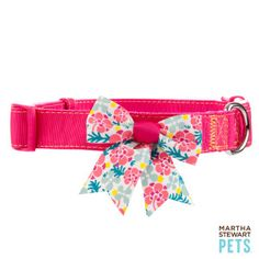 Martha Stewart Pets™ Solid Pink Collar w/Sea Floral Bow - PetSmart