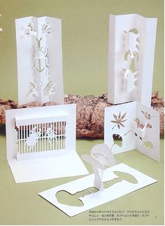 Miracle hands: Free japanese craft book download: Kirigami 4 Kirigami Patterns, Kirigami Templates, Origami And Kirigami, Card Patterns, Box Templates, Doll Patterns, Paper Cutting, Origami Architecture, Folded Book Art
