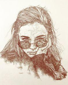DONE🙈🙉🙊 . . . 今年も残りわずかとなりました。 次が今年のlast drawingかな?😛 #イラスト#アート#絵#スケッチ#ドローイング #女性#女の子#顔…
