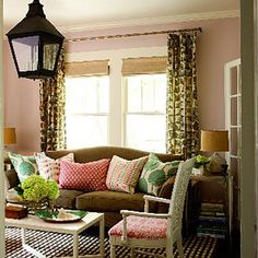 Pink mixed with a variety of greens keeps things from looking too sweet or preppy.