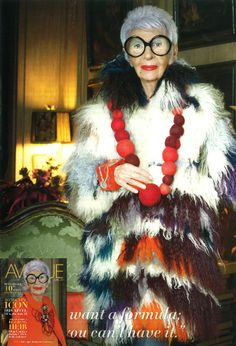 Iris Apfel looking as stunning as ever in our fur shown in Avenue magazine!