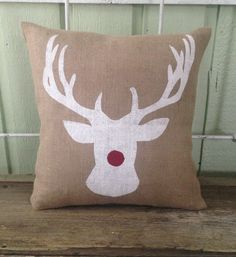 Burlap Pillow- Sparkly Rudolph, Reindeer, Christmas/Holiday decor, Christmas pillow, Christmas Gifts by TwoPeachesDesign on Etsy https://www.etsy.com/listing/209853569/burlap-pillow-sparkly-rudolph-reindeer