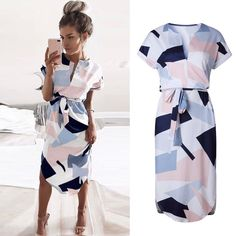 Women Summer Boho Short Sleeve Party Comfy Nice Beach Printing Party Long Dress