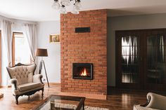 Decor, Modern Materials, House, Home, Fireplace Design, Brick Design, Modern, Indoor, Fireplace