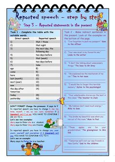 Reported speech - step by step * Step 3 *Reported statements in the present * with KEY - English ESL Worksheets for distance learning and physical classrooms English Teaching Materials, Teaching English Grammar, English Grammar Worksheets, English Vocabulary, Speech Activities, English Activities, English Games, English Lessons, Learn English
