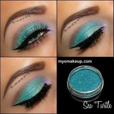 Maquillaje verde agua