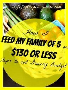 Yet, your grocery budget is still the best place to cut spending in your overall budget.  Feeding My Family of 5 on a Grocery Budget of $130 - Life for the Penny Wise