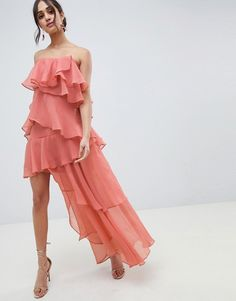 Browse online for the newest ASOS DESIGN Bandeau maxi dress with tiered ruffles in crinkle chiffon styles. Shop easier with ASOS' multiple payments and return options (Ts&Cs apply). Floral Maxi Dress, Ruffle Dress, Ruffles, Asos, Chiffon, Mom Dress, Models, Bandeau, Latest Dress