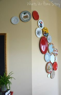 Whats Ur Home Story: DIY Plate Wall, Modern Plate wall, plate wall tutorial