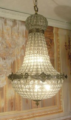 Grand Vintage Antique Sparkling Crystal Basket Chandelier