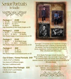 Package details and prices for Senior Portraits!   Call 714-978-3590 to schedule your appointment!