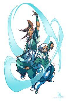 Master Katara and Avatar Korra giving an official waterbending demonstration.