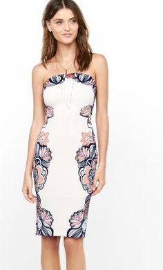 pink strapless placed floral print tube dress from EXPRESS