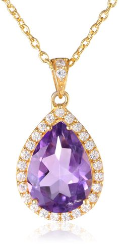 """Argento Vivo Gold-Plated Amethyst Pendant Necklace, 18"""". Cubic zirconia rounds stud the bail and form a halo around the faceted gemstone pendant found in this stunning Argento Vivo necklace. Cable chain with lobster-claw clasp. Crafted in gold-plated .925 sterling silver. The natural properties and composition of mined gemstones define the unique beauty of each piece. The image may show slight differences to the actual stone in color and texture. Imported."""