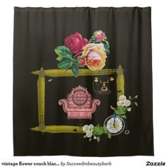 vintage flower couch black shower curtain
