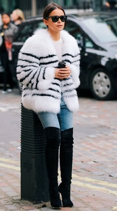 Overknee boots shoes blue denim jeans fur coat fall winter everyday